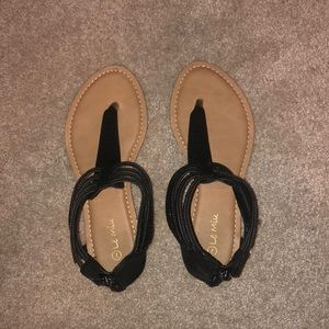 Black Sandal with Sparkles around Ankle Wrap